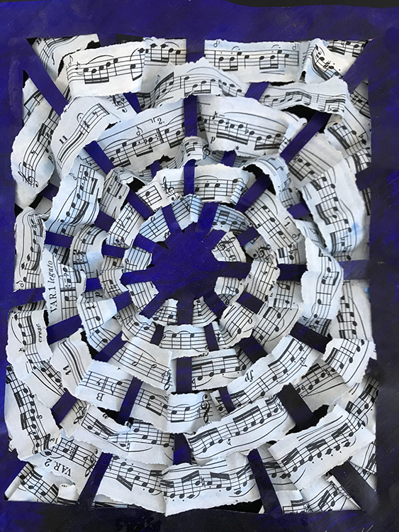 Musical Circle Weaving, mixed media by Lori Kay