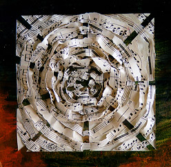 Circular music weaving, mixed media by Lori Kay